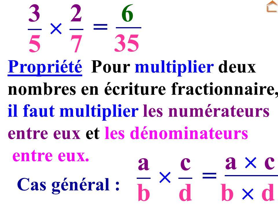 Pour multiplier deux nombres en écriture fractionnaire, il faut multiplier les numérateurs entre eux et les dénominateurs entre eux. 3535 2727 = 6 35