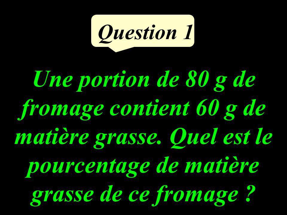 Question 1 Une portion de 80 g de fromage contient 60 g de matière grasse.