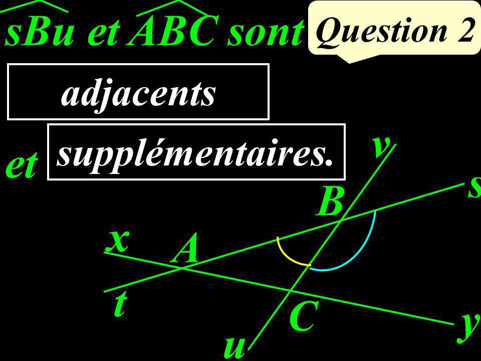 sBu et ABC sont …………... et ……………… Question 2 x y A u v s t B C adjacents supplémentaires.
