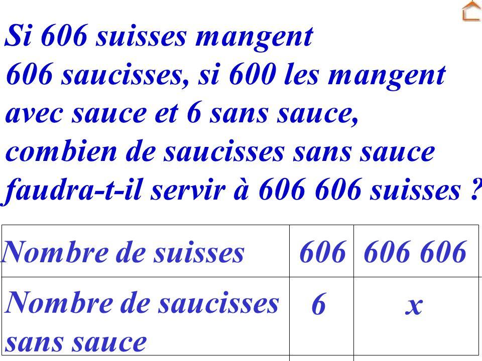 Si 606 suisses mangent 606 saucisses, si 600 les mangent avec sauce et 6 sans sauce, combien de saucisses sans sauce faudra-t-il servir à 606 606 suis