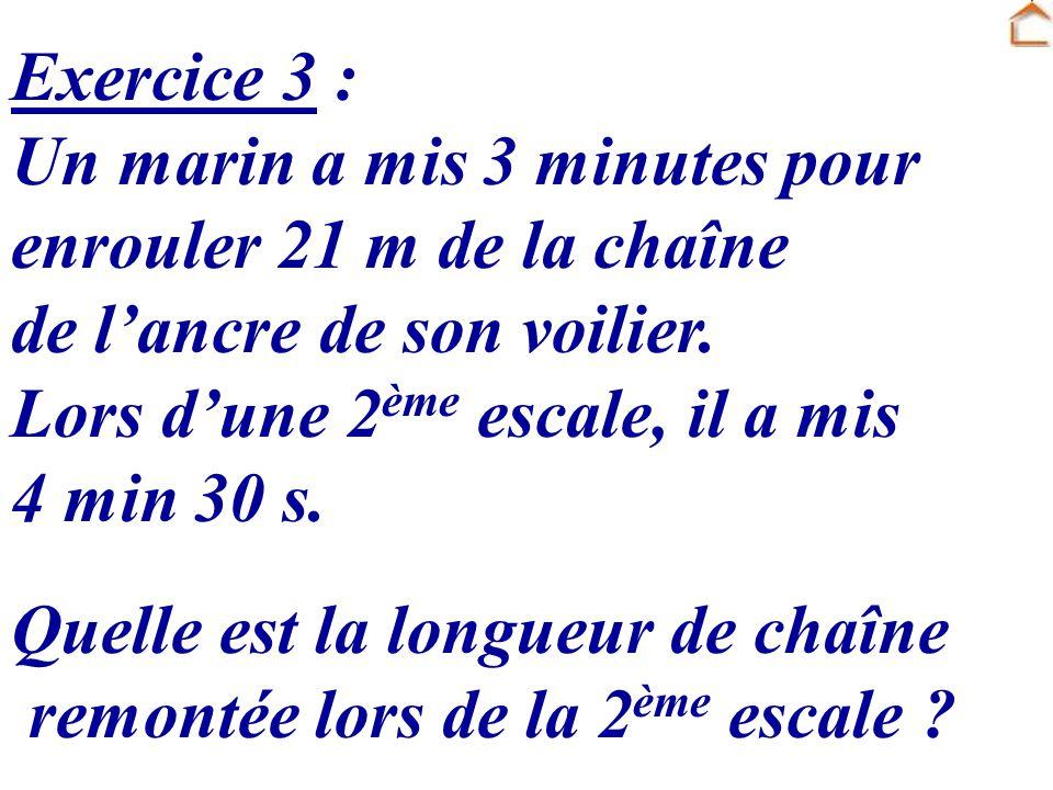 Exercice 3 : Un marin a mis 3 minutes pour enrouler 21 m de la chaîne de lancre de son voilier. Lors dune 2 ème escale, il a mis 4 min 30 s. Quelle es