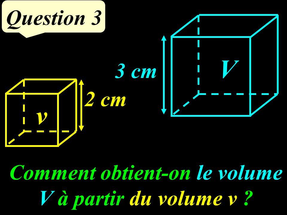 Comment obtient-on le volume V à partir du volume v ? Question 3 3 cm 2 cm v V