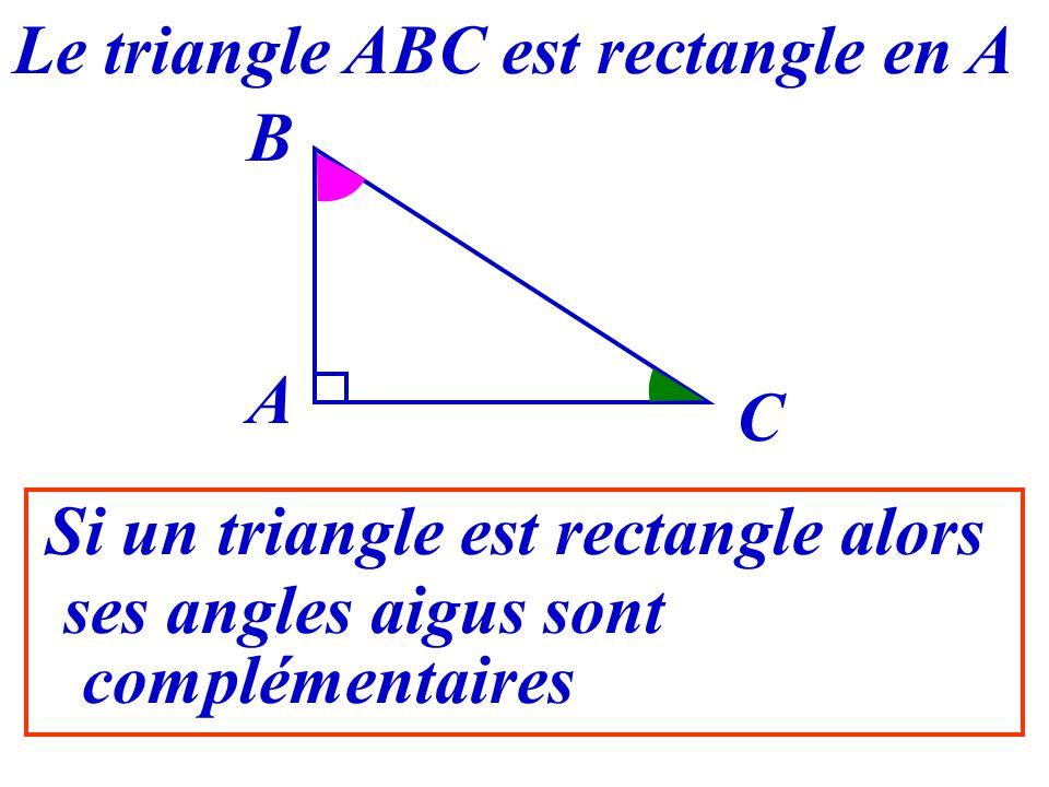 28 A B C Que peut-on dire de ABC et ACB ? Le triangle ABC est rectangle en A Leur somme est égale à 90°180° - 90° = 90°