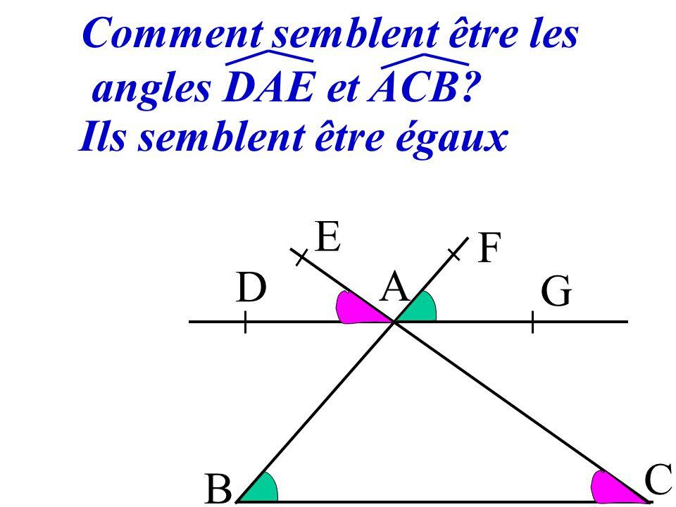 3 Si deux droites parallèles déterminent des angles correspondants alors ils sont égaux. FAG et ABC sont FAG = ABC B A C D E F G correspondants (DG)//