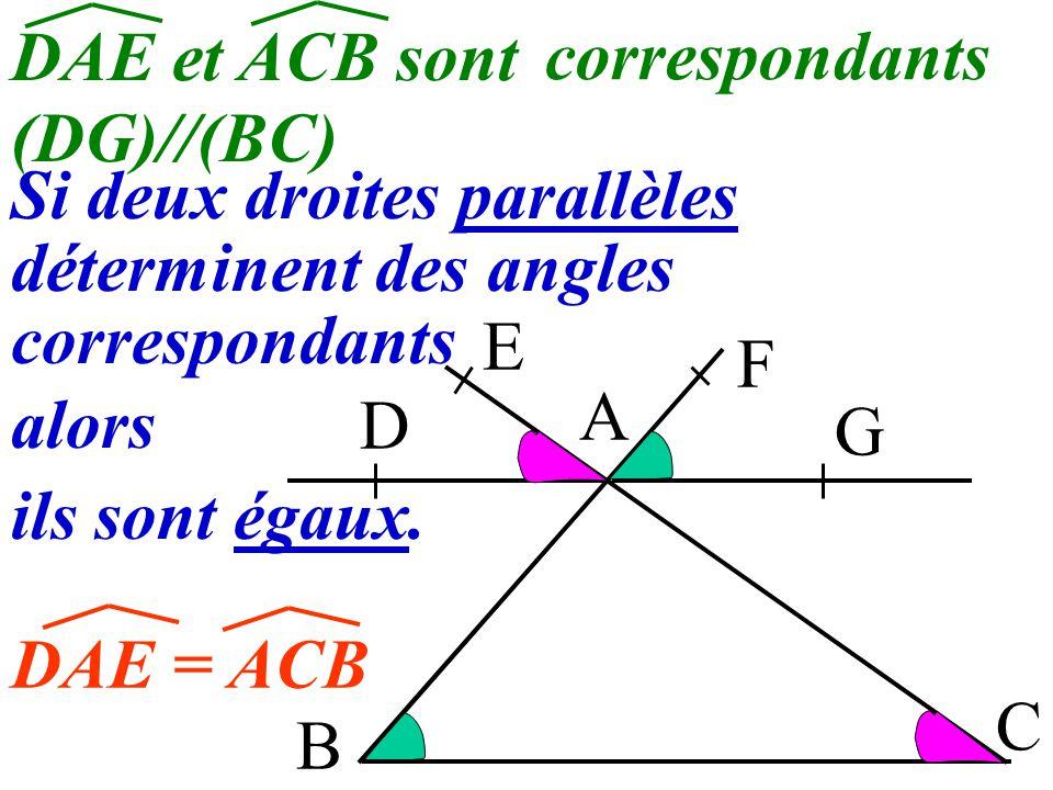 4 B A C D E F G Comment semblent être les angles DAE et ACB? Ils semblent être égaux