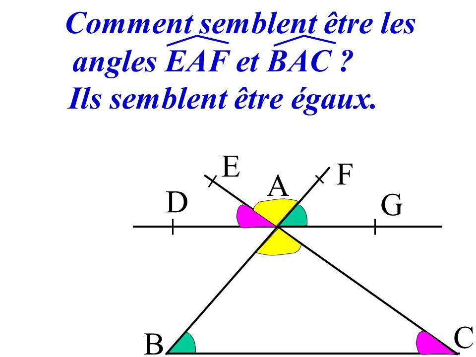 5 Si deux droites parallèles déterminent des angles correspondants alors ils sont égaux. DAE et ACB sont DAE = ACB B A C D E F G correspondants (DG)//