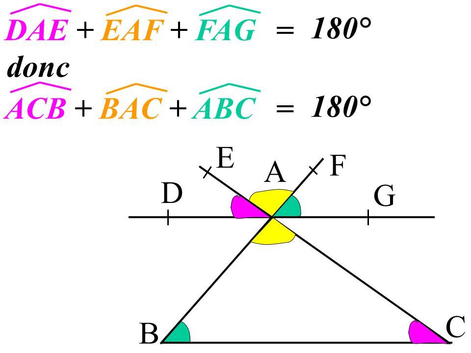 7 B A C Si deux angles sont opposés par le sommet D E F G alors ils sont égaux. EAF et BAC sont EAF=BAC opposés par le sommet