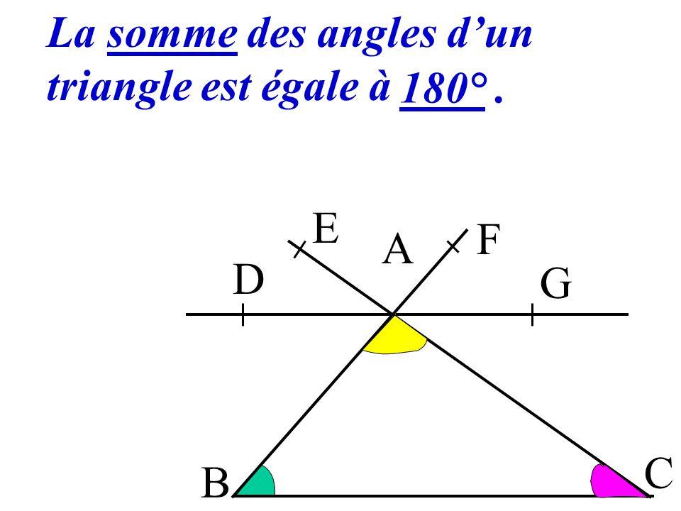 8 B A C D E F G DAE + EAF + FAG = 180° donc ACB + BAC + ABC = 180°