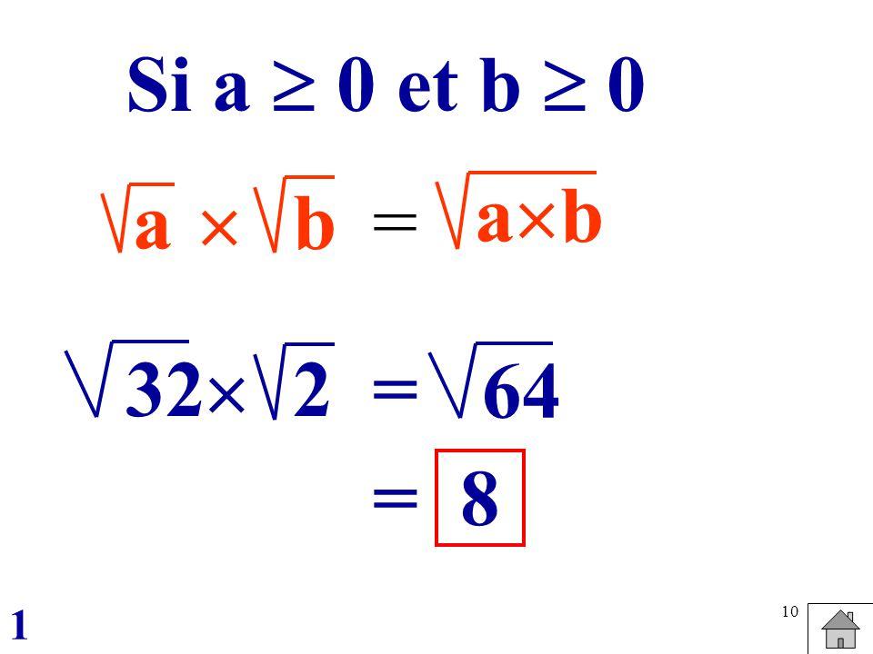 10 ab = a b Si a 0 et b 0 322 = 64 =8 1