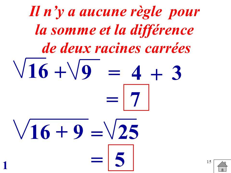 15 16 =4 Il ny a aucune règle pour la somme et la différence de deux racines carrées +9 + 3 = 7 16 + 925 = = 5 1