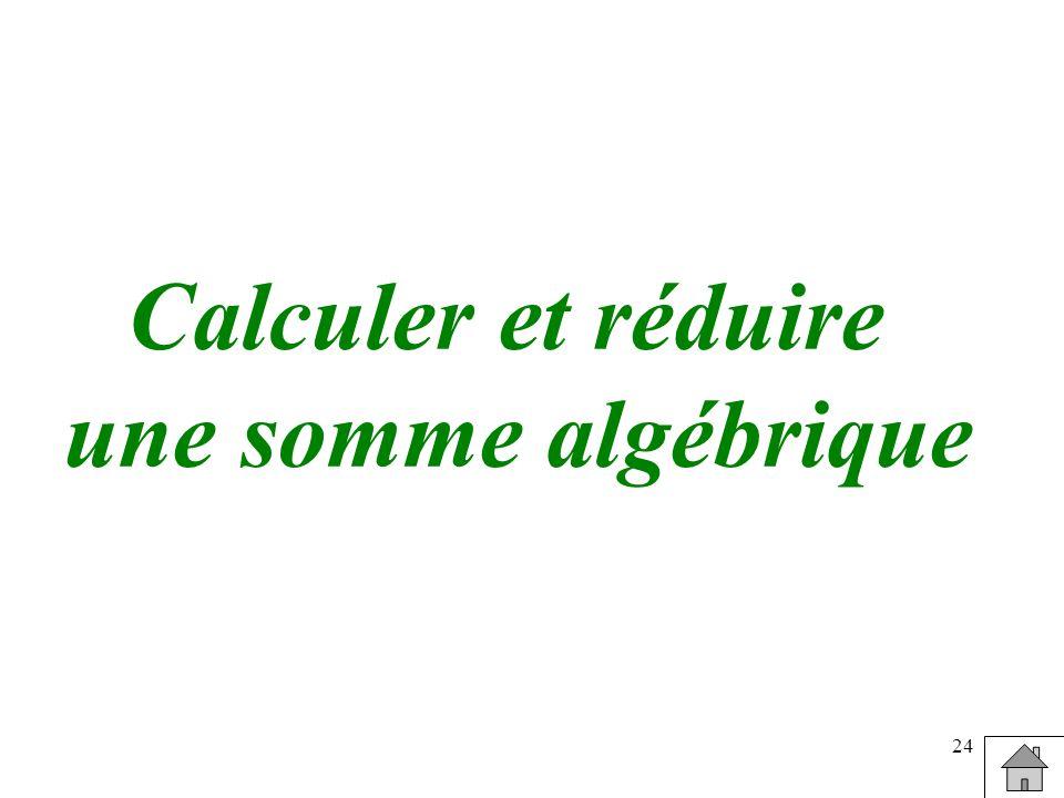 24 Calculer et réduire une somme algébrique
