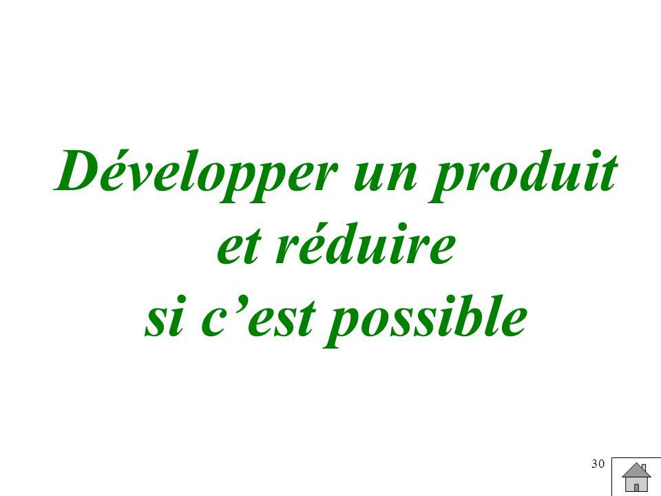 30 Développer un produit et réduire si cest possible