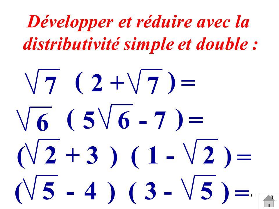 31 Développer et réduire avec la distributivité simple et double : 7 ( 2 + 7 ) = 6 ( 56 ) = - 7 2(1 -2) = () +3 5(3 -5) = () -4