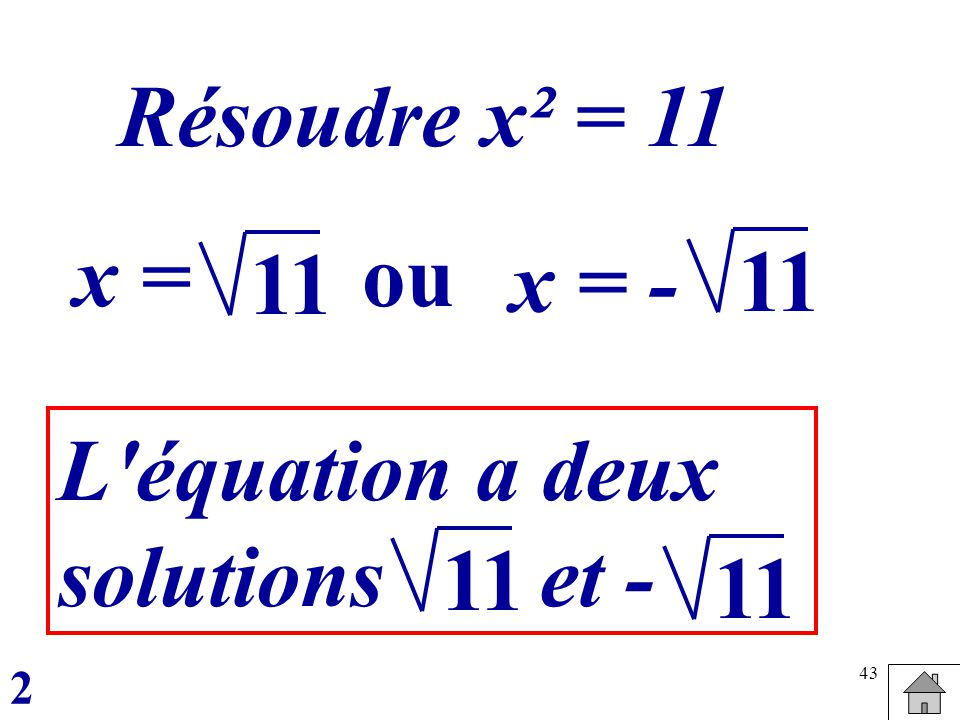 43 Résoudre x² = 11 x =ou x = - 11 L équation a deux solutions et - 11 2