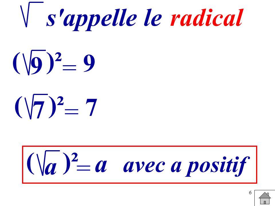 6 = 9 ()² 9 s appelle leradical = 7 ()² 7 = a ( a avec a positif