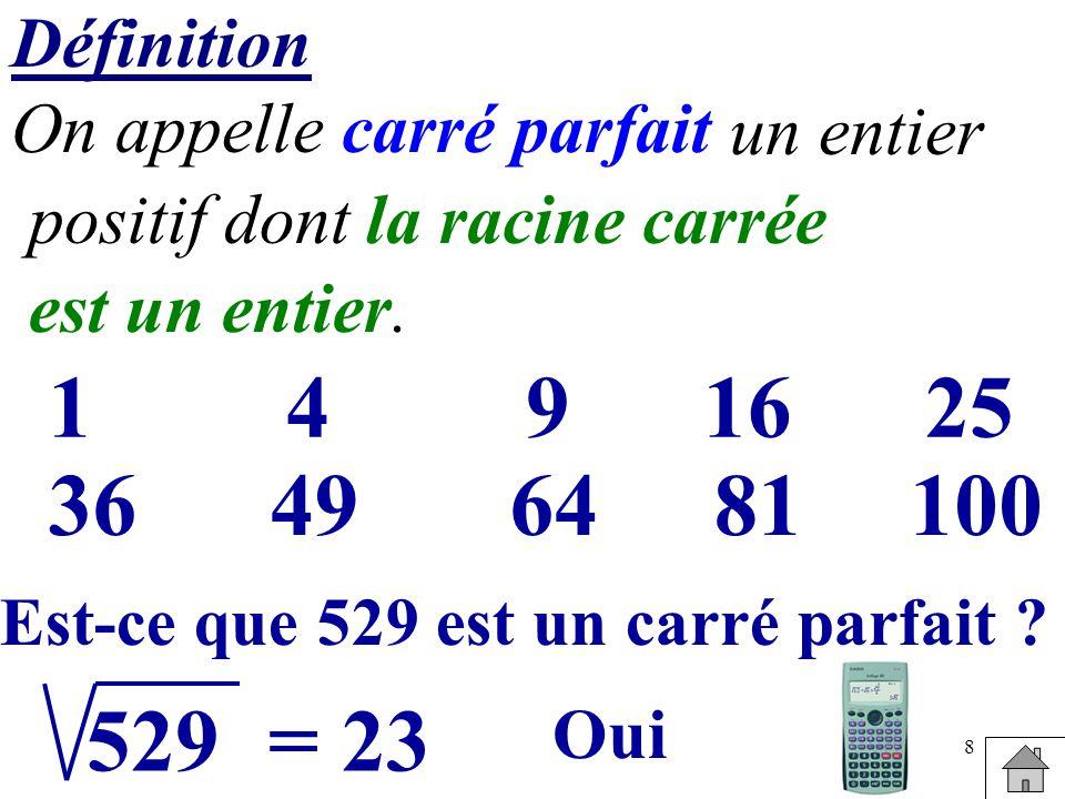 8 Définition On appelle carré parfait 1491625 36496481100 positif dont un entier la racine carrée est un entier. Est-ce que 529 est un carré parfait ?