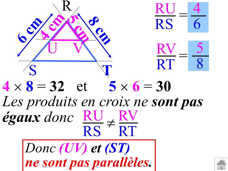 RU RS RV RT = = 4646 5858 Les produits en croix ne sont pas égaux donc RU RS RV RT Donc (UV) et (ST) ne sont pas parallèles. T 5 cm 4 cm 8 cm 6 cm R S
