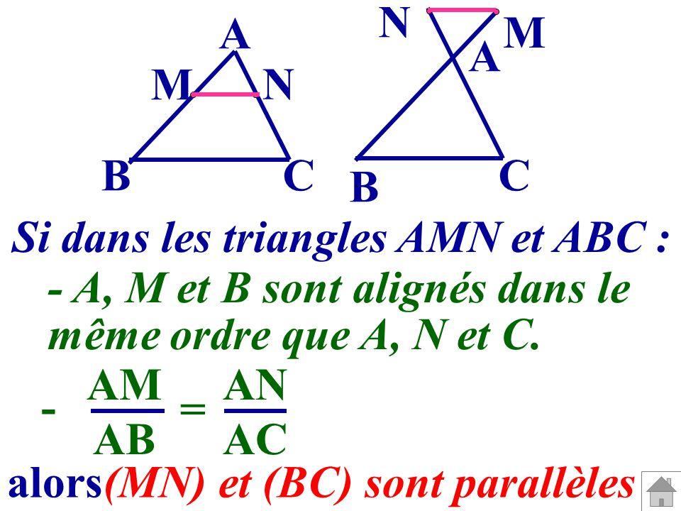 A C M N A B CB N M - A, M et B sont alignés dans le même ordre que A, N et C. AM AB AN AC - = alors(MN) et (BC) sont parallèles Si dans les triangles