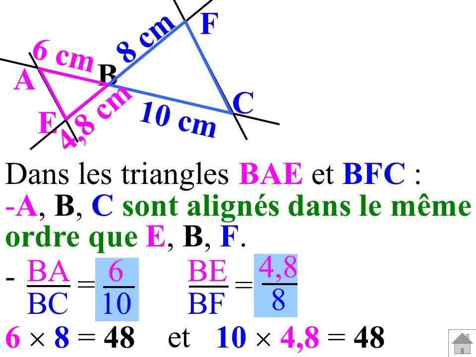 B F C A E 8 cm 10 cm 4,8 cm 6 cm BA BC BE BF = = 6 10 4,8 8 10 4,8 = 486 8 = 48 et Les produits en croix sont égaux donc BA BC BE BF = D après la réciproque de la propriété de Thalès,(AE) et (FC) sont parallèles.