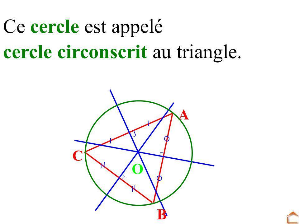 Ce cercle est appelé cercle circonscrit au triangle. A B C O