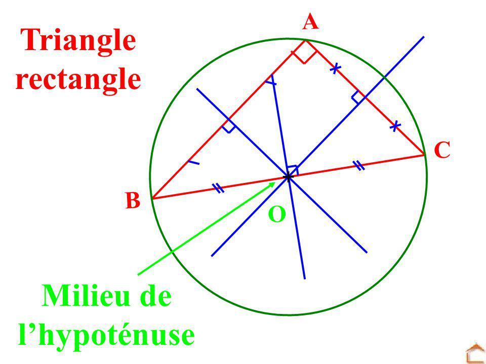 Triangle rectangle Milieu de lhypoténuse B C A O