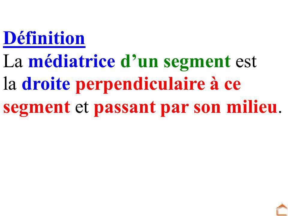 Définition La médiatrice dun segment est la droite perpendiculaire à ce segment et passant par son milieu.