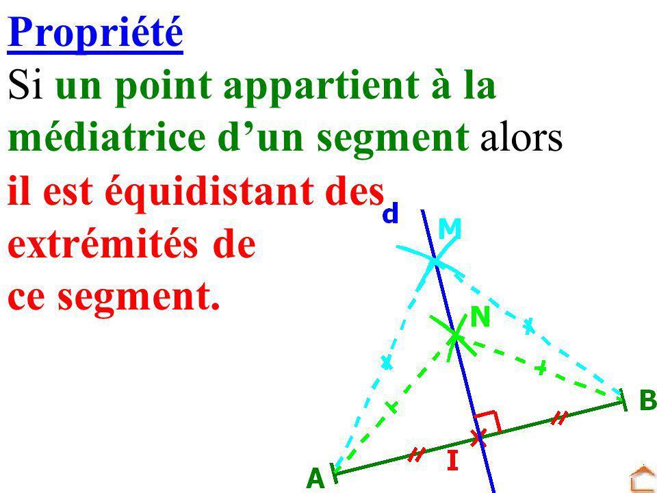 Propriété Si un point appartient à la médiatrice dun segment alors il est équidistant des extrémités de ce segment.