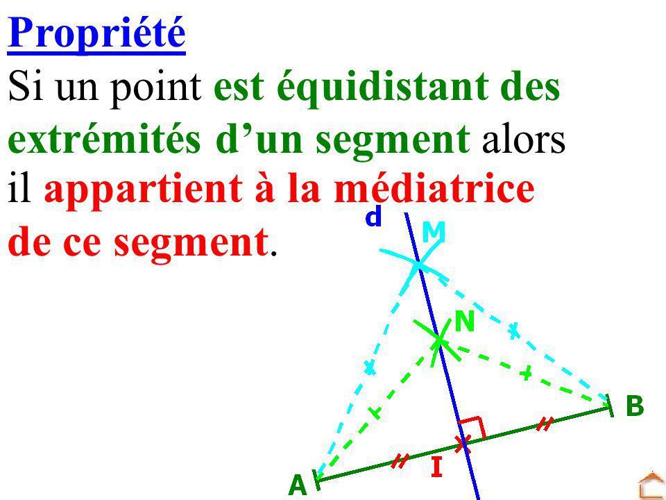 Propriété Si un point est équidistant des extrémités dun segment alors il appartient à la médiatrice de ce segment.