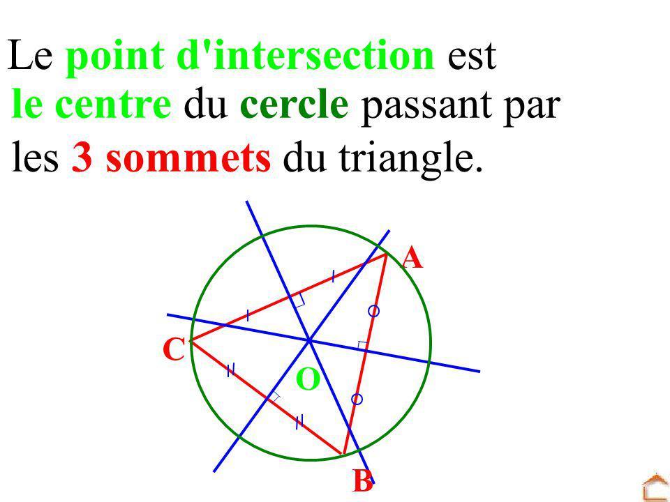 Le point d'intersection est le centre du cercle passant par les 3 sommets du triangle. A B C O