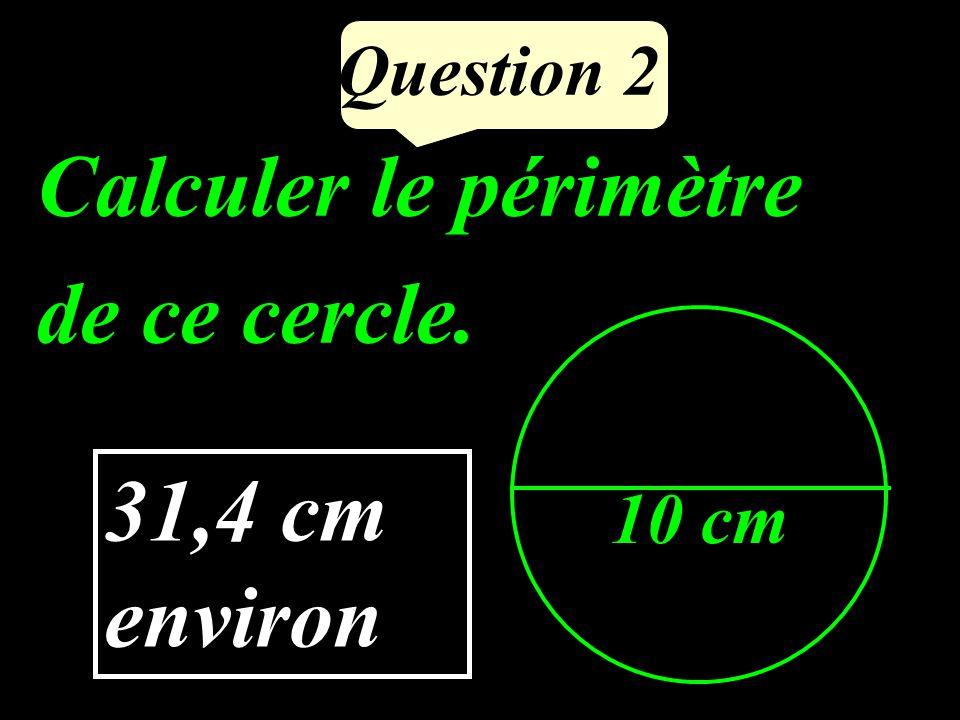 Question 2 Calculer le périmètre de ce cercle. 10 cm 31,4 cm environ