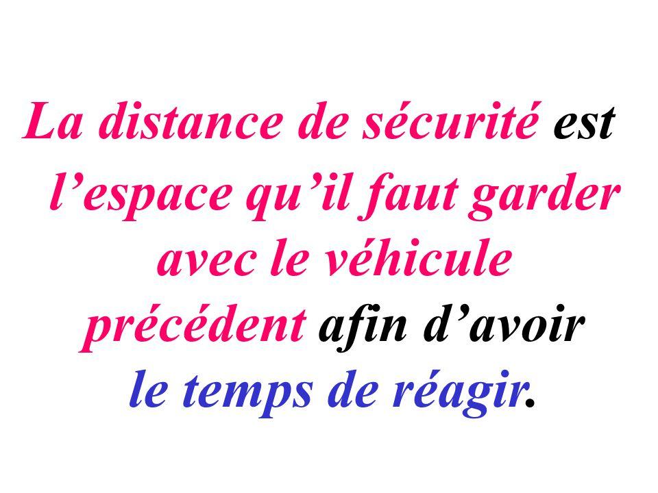 La distance de sécurité est lespace quil faut garder avec le véhicule précédent afin davoir le temps de réagir.