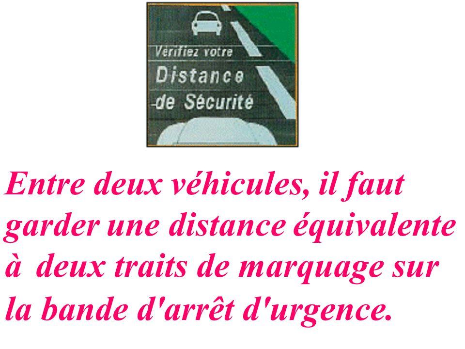 Entre deux véhicules, il faut garder une distance équivalente à deux traits de marquage sur la bande d'arrêt d'urgence.