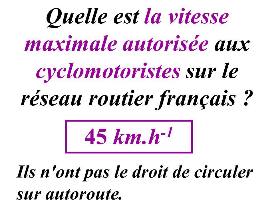 Quelle est la vitesse maximale autorisée aux cyclomotoristes sur le réseau routier français ? 45 km.h -1 Ils n'ont pas le droit de circuler sur autoro