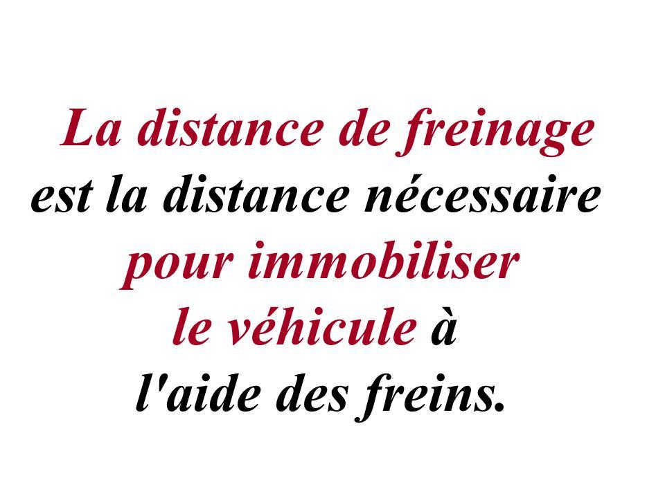 La distance de freinage est la distance nécessaire pour immobiliser le véhicule à l'aide des freins.