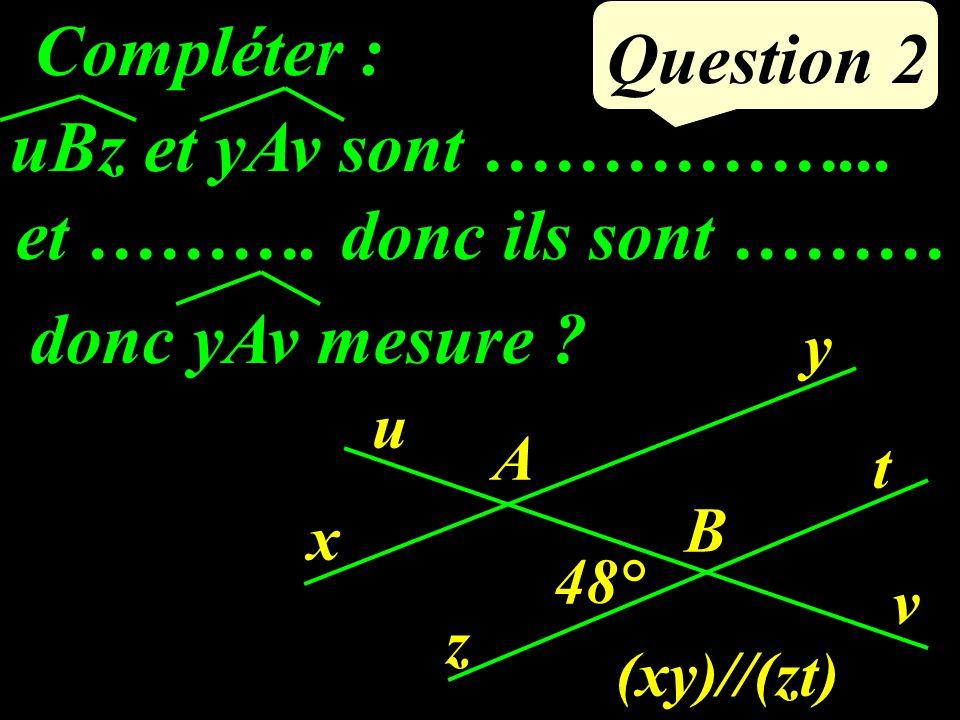 uBz et yAv sont ……………...Question 2 Compléter : donc ils sont ……… donc yAv mesure .