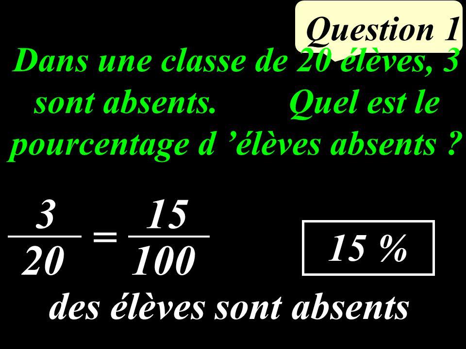 Question 1 Dans une classe de 20 élèves, 3 sont absents.