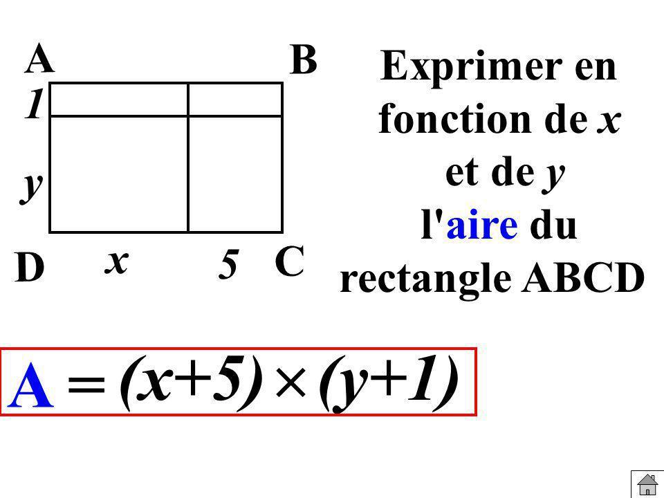 Exprimer en fonction de x et de y l'aire du rectangle ABCD A = (y+1)(x+5) x y B A C D 5 1
