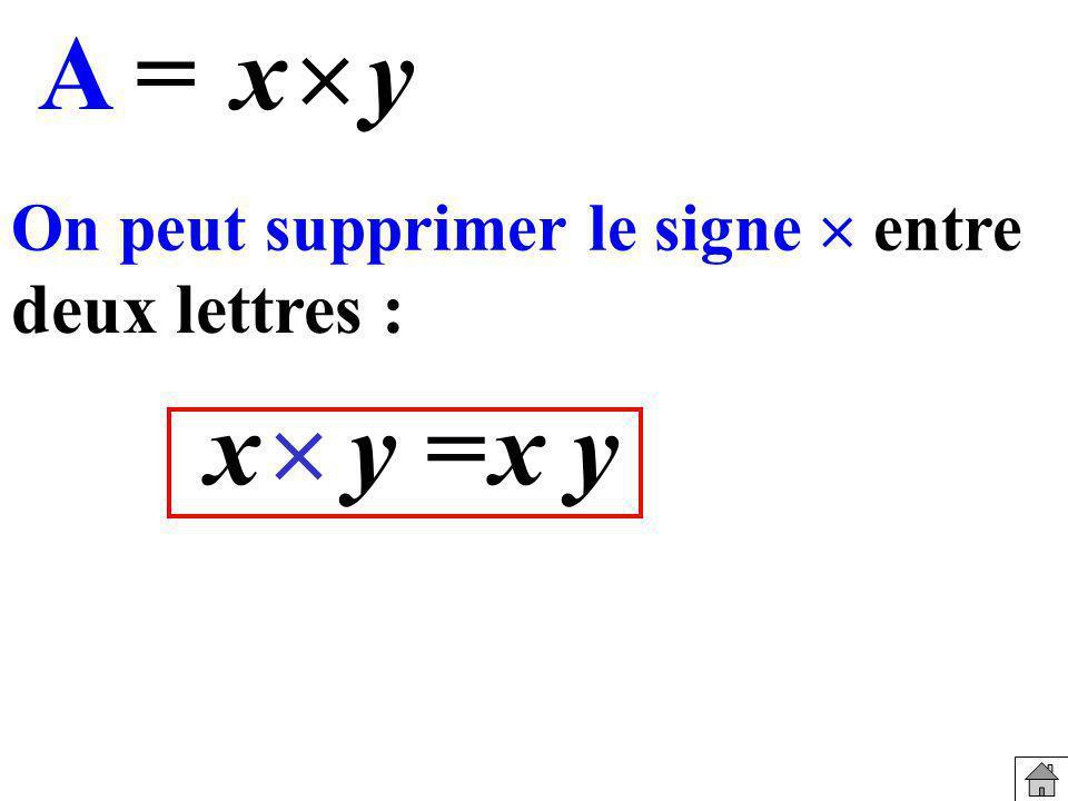 On peut supprimer le signe entre deux lettres : A = yx y =xyx
