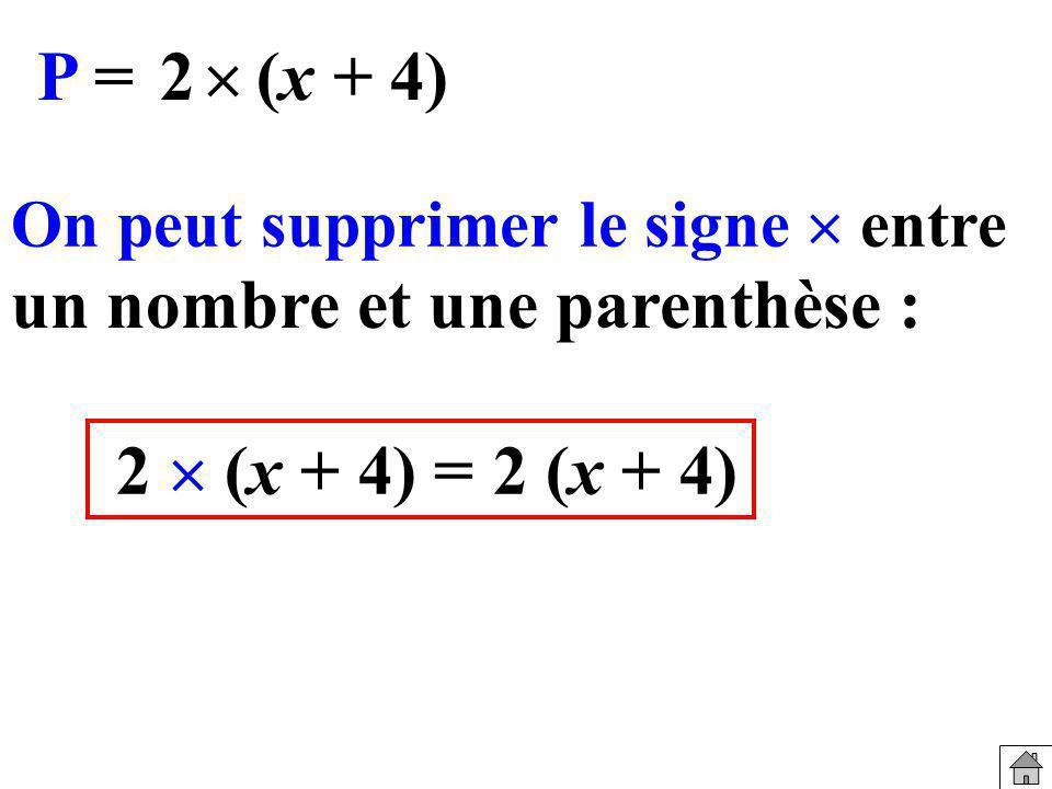 On peut supprimer le signe entre 2 (x + 4) = un nombre et une parenthèse : 2 (x + 4) P = (x + 4)2