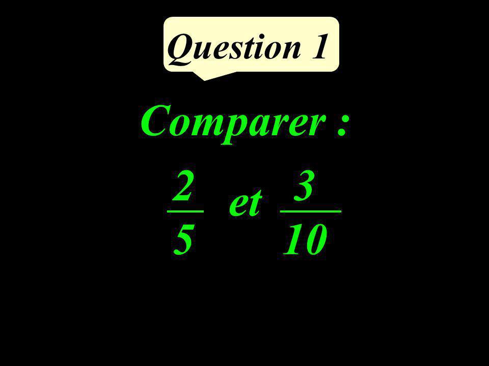 Question 1 Comparer : et 2525 3 10