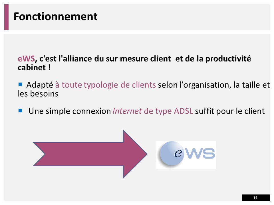 11 Fonctionnement eWS, c est l alliance du sur mesure client et de la productivité cabinet .