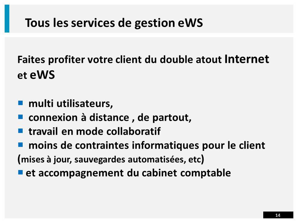 14 Tous les services de gestion eWS Faites profiter votre client du double atout Internet et eWS multi utilisateurs, connexion à distance, de partout, travail en mode collaboratif moins de contraintes informatiques pour le client ( mises à jour, sauvegardes automatisées, etc ) et accompagnement du cabinet comptable