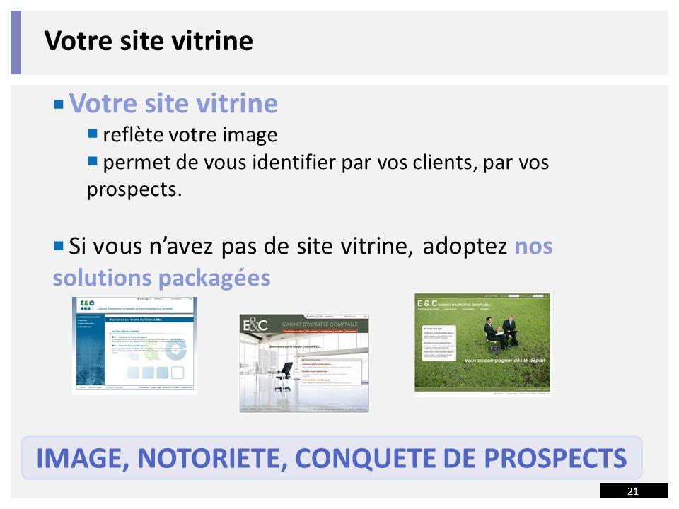 21 Votre site vitrine reflète votre image permet de vous identifier par vos clients, par vos prospects.