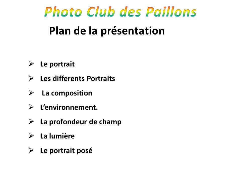 Plan de la présentation Le portrait Les differents Portraits La composition Lenvironnement. La profondeur de champ La lumière Le portrait posé