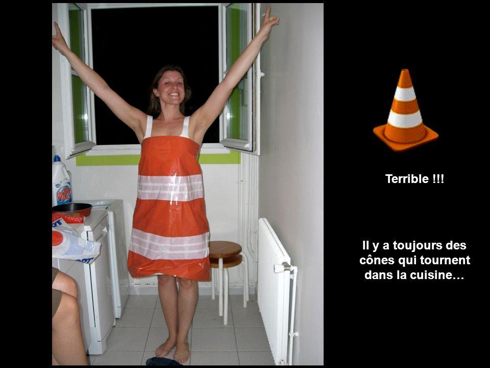 Terrible !!! Il y a toujours des cônes qui tournent dans la cuisine…