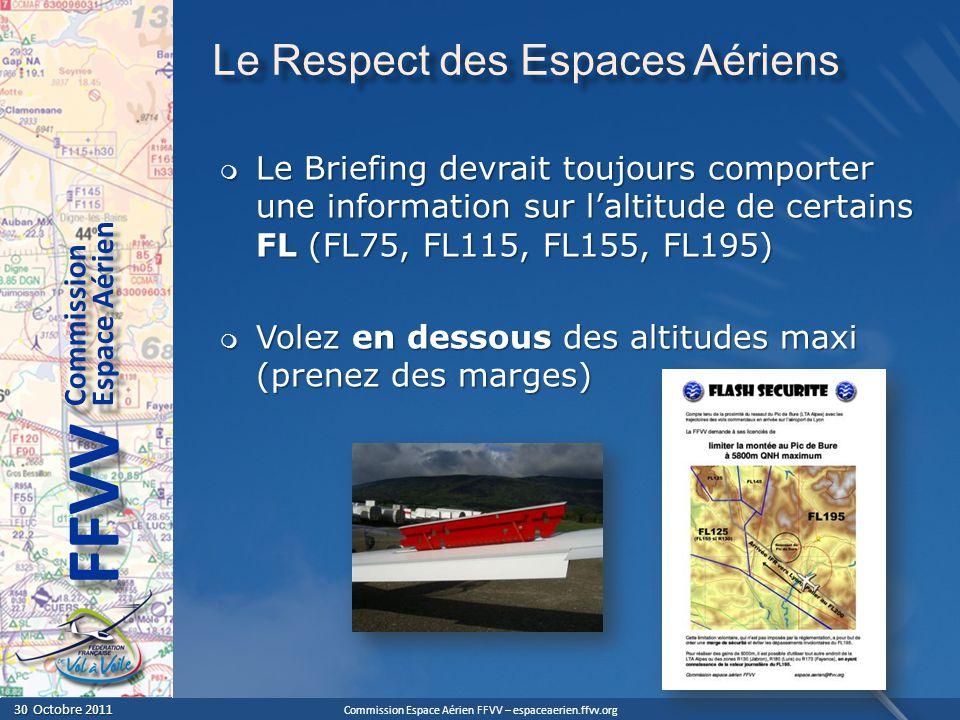 Commission Espace Aérien FFVV – espaceaerien.ffvv.org 30 Octobre 2011 30 Octobre 2011 Espace Aérien Commission FFVV Le Respect des Espaces Aériens Le