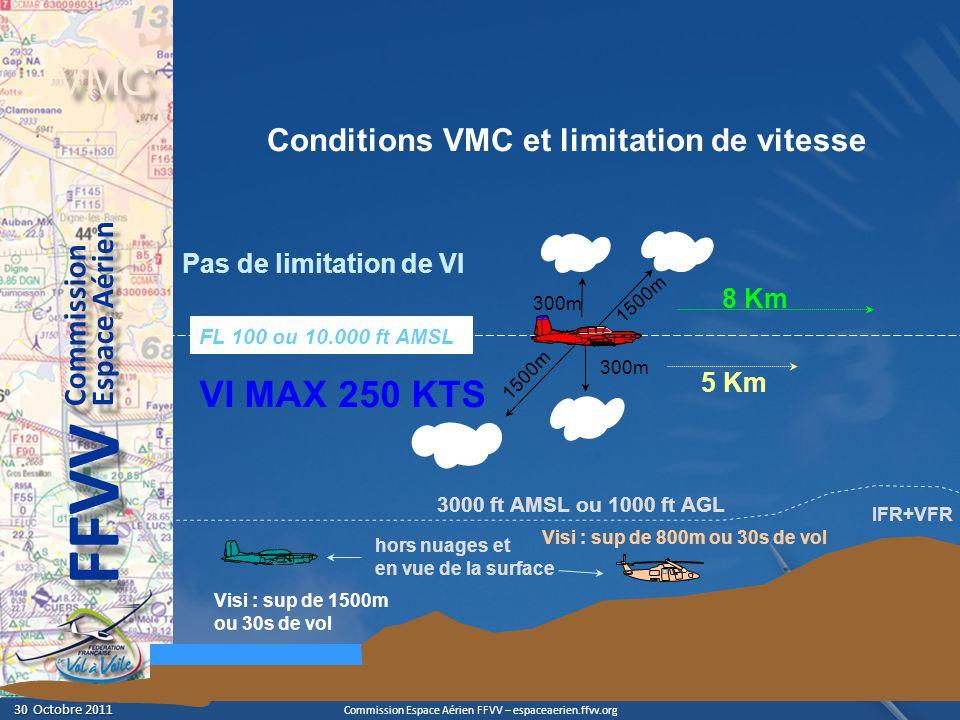 Commission Espace Aérien FFVV – espaceaerien.ffvv.org 30 Octobre 2011 30 Octobre 2011 Espace Aérien Commission FFVV VMC septembre 2011 VI MAX 250 KTS RDA - 3.9 3000 ft AMSL ou 1000 ft AGL 300m 1500m FL 100 ou 10.000 ft AMSL Visi : sup de 1500m ou 30s de vol Visi : sup de 800m ou 30s de vol hors nuages et en vue de la surface 5 Km 8 Km Pas de limitation de VI Conditions VMC et limitation de vitesse VMC (VFR) IFR+VFR