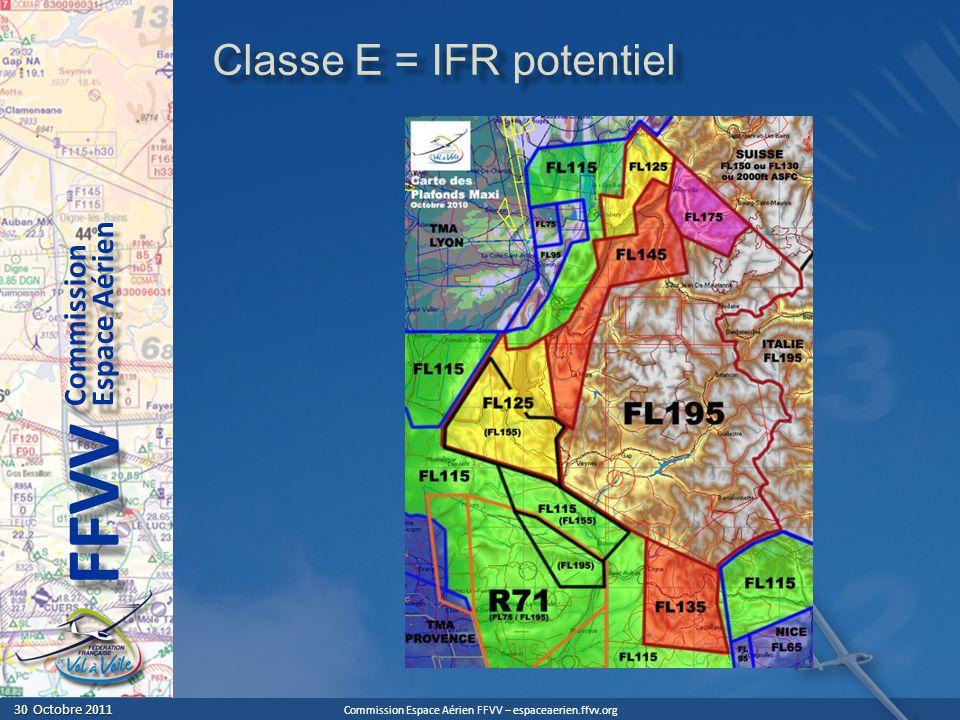 Commission Espace Aérien FFVV – espaceaerien.ffvv.org 30 Octobre 2011 30 Octobre 2011 Espace Aérien Commission FFVV Classe E = IFR potentiel