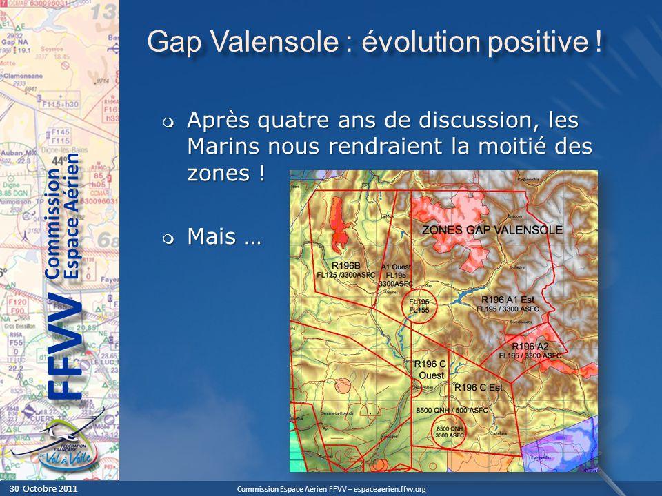 Commission Espace Aérien FFVV – espaceaerien.ffvv.org 30 Octobre 2011 30 Octobre 2011 Espace Aérien Commission FFVV Gap Valensole : évolution positive