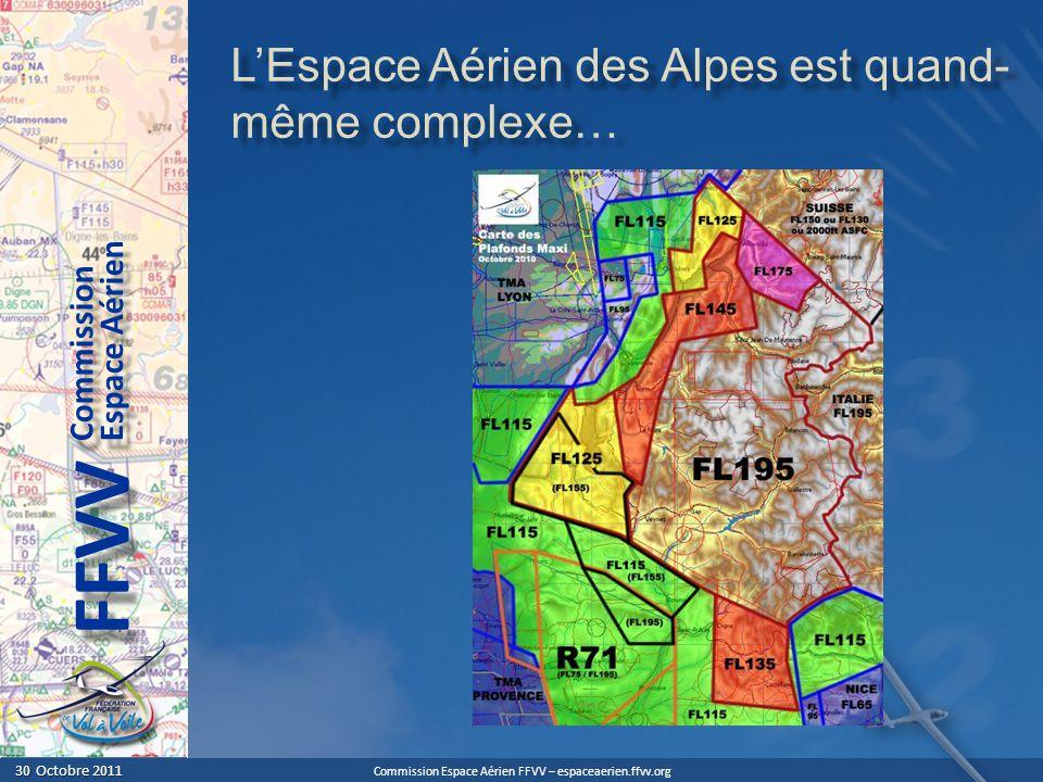 Commission Espace Aérien FFVV – espaceaerien.ffvv.org 30 Octobre 2011 30 Octobre 2011 Espace Aérien Commission FFVV LEspace Aérien des Alpes est quand- même complexe…